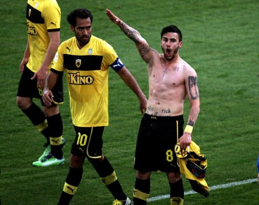 This picture taken on March 16, 2013 shows Giorgos Katidis celebrating a goal with a Nazi salute in Athens