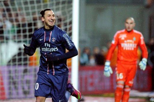 Paris Saint-Germain's Zlatan Ibrahimovic celebrates after scoring on March 17, 2013 at the Geoffroy Guichard stadium