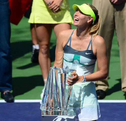 Maria Sharapova holds her trophy on March 17, 2013