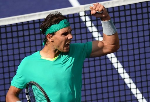 Rafael Nadal wins a point against Juan Martin del Potro at Indian Wells on March 17, 2013