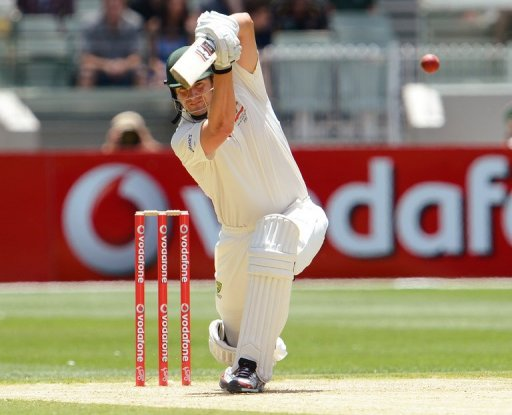 Australian batsman Shane Watson drives a delivery from the Sri Lankan bowling on December 27, 2012
