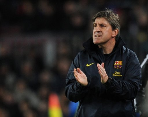 Barcelona assistant manager Jordi Roura is pictured during their Spanish league match against Rayo on March 17, 2013