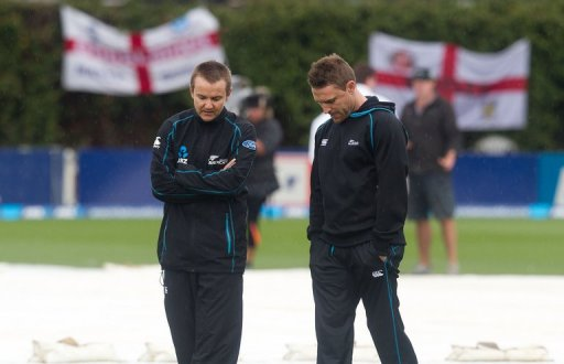 New Zealand's head coach Mike Hesson (L) inspects the pitch with captain Brendon McCullum on March 18, 2013