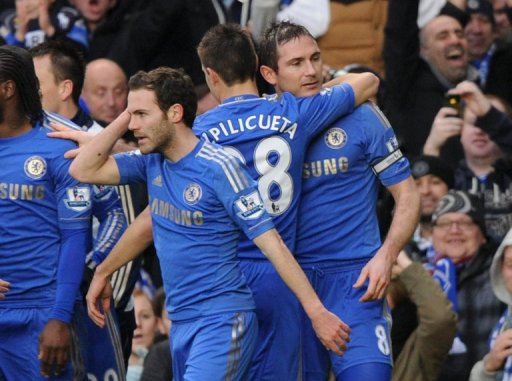 Chelsea's Frank Lampard (right) celebrates after scoring against West Ham at Stamford Bridge, on March 17, 2013