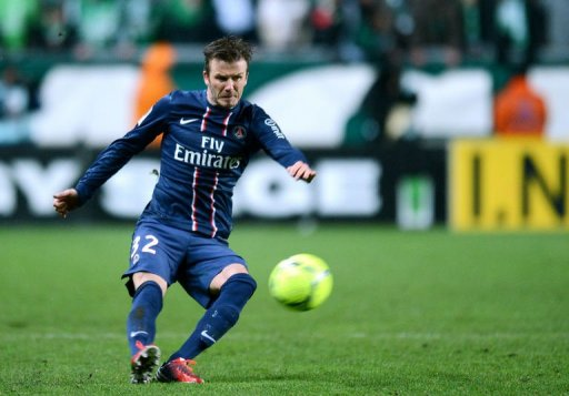 David Beckham kicks the ball on March 17, 2013 at the Geoffroy Guichard stadium in Saint-Etienne