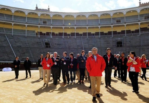 Members of the IOC evaluation team visit the Las Ventas bullring in Madrid on March 18, 201