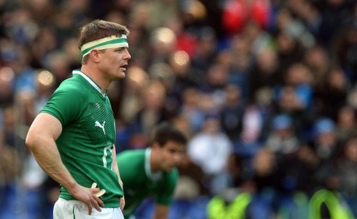 Brian O'Driscoll reacts during the Six Nations International Rugby Union match in Rome on March 16, 2013
