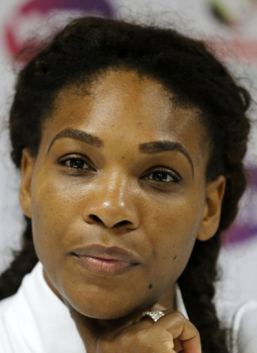 Serena Williams gives a press conference during the Dubai Open on February 20, 2013