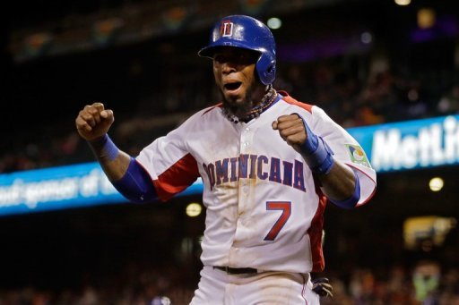 Jose Reyes celebrates smacking the go-ahead RBI single on March 18, 2013