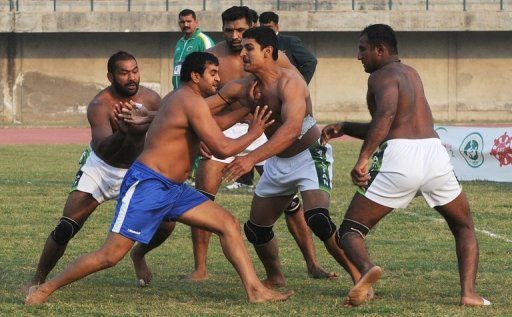 An Indian player competes against Pakistan in Kabaddi on November 1, 2012