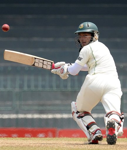Mushfiqur Rahim plays a shot against Sri Lanka in Colombo on March 19, 2013