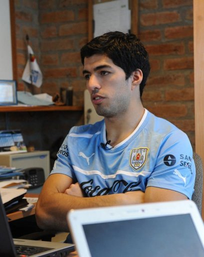 Luis Suarez gives an interview with AFP on March 19, 2013, in Montevideo