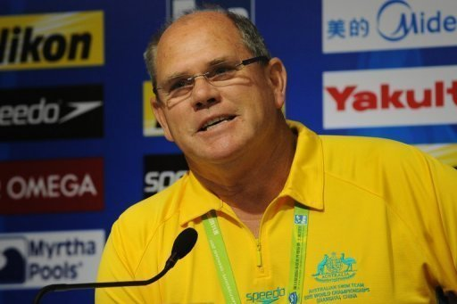 Australian swimming head coach Leigh Nugent at a press conference in Shanghai on July 22, 2011