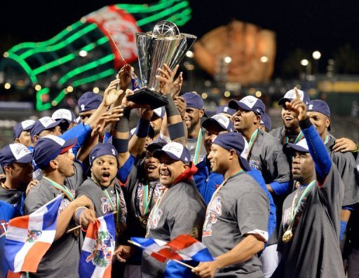 Dominican Republic celebrate winning the World Baseball Classic after beating Puerto Rico 3-0 on March 19, 2013