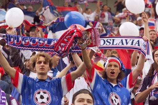 Supporters of the Yugoslavia national football team in Saint-Etienne, France before a World Cup match on June 14, 1998