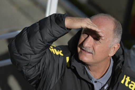 Luiz Felipe Scolari attends a press conference prior to a training session on March 20, 2013 in Nyon