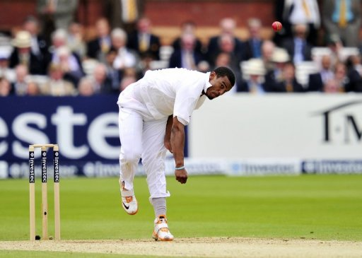 West Indies' Shannon Gabriel bowls in London, on May 19, 2012
