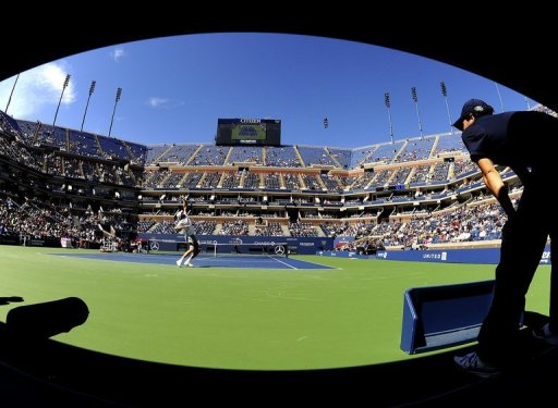 Mardy Fish plays against Tobias Kamke during the US Open 2011 in New York on August 29, 2011
