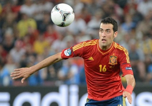 Spanish midfielder Sergio Busquets runs for the ball on June 23, 2012 at the Donbass Arena in Donetsk