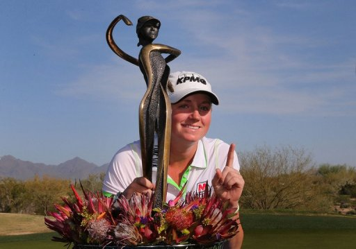 Stacy Lewis poses with the trophy after winning the the RR Donnelley LPGA Founders Cup on March 17, 2013 in Phoenix