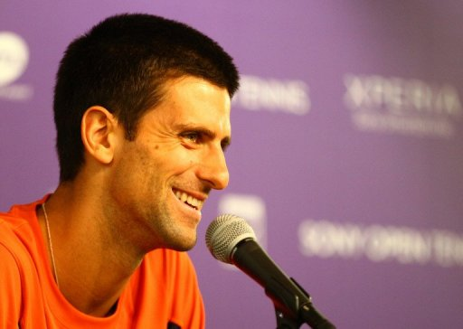Novak Djokovic speaks to the media at the Sony Open at at the Crandon Park Tennis Center on March 20, 2013