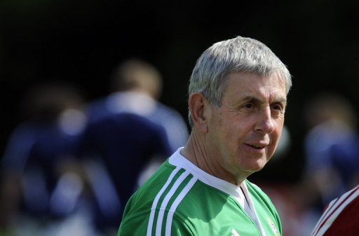 Then British and Irish Lions head coach Ian McGeechan during a training session on May 19, 2009