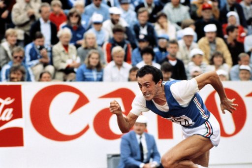 Pietro Mennea crosses the finishing line in the men's 200m during the World Championships in Prague on August 13, 1983