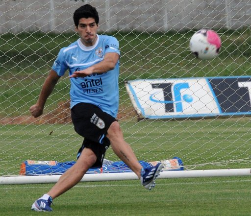 Luis Suarez at a training session on March 18, 2013 in Canelones, 27km east of Montevideo