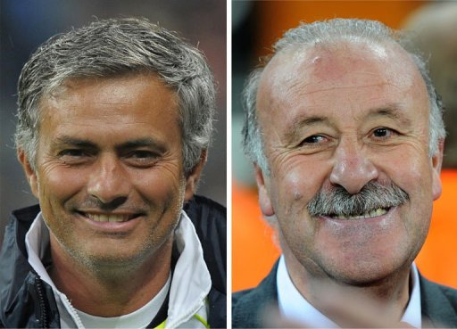 Jose Mourinho (left) in Munich on August 13, 2010 and Vicente Del Bosque in Soweto on July 11, 2010