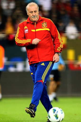 Vicente del Bosque at a Spain training session in Doha on February 5, 2013