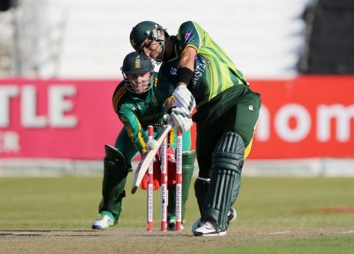 Misbah ul-Haq of Pakistan hits a six on March 21, 2013 in Durban