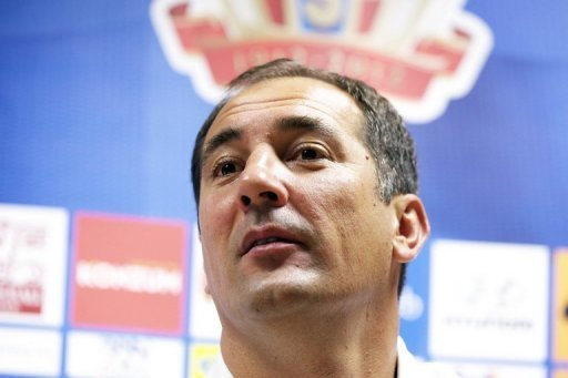 Igor Stimac gives a press conference on September 10, 2012 at the King Baudouin stadium in Brussels