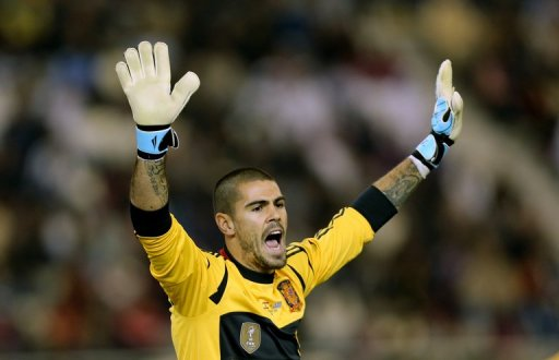 Spain's goalkeeper Victor Valdes reacts in Doha on February 6, 2013