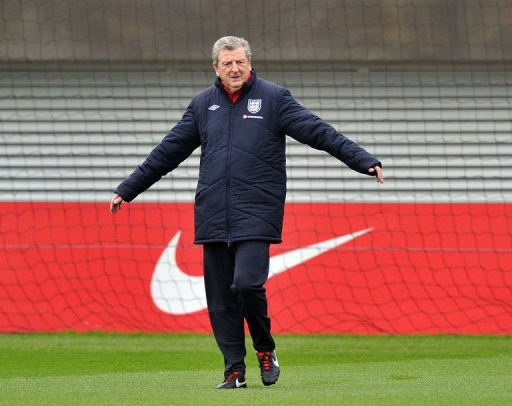 England manager Roy Hodgson arrives for a training session at the St George's Park training complex on March 19, 2013