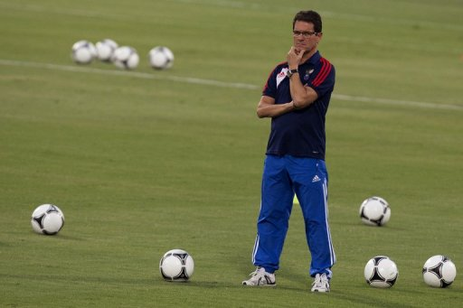 Russia's Fabio Capello attends a training session at Ramat Gan Stadium near Tel Aviv on September 10, 2012