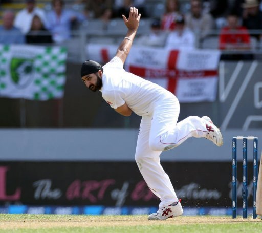 England's Monty Panesar bowls at Eden Park in Auckland, on March 22, 2013