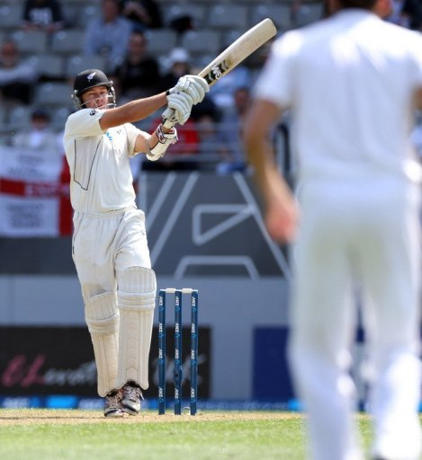 New Zealand's Peter Fulton bats at Eden Park in Auckland, on March 22, 2013