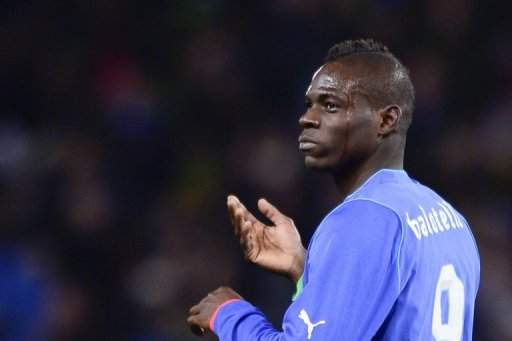 Italian forward Mario Balotelli is shown in the match against Brazil on March 21, 2013 at the stadium of Geneva