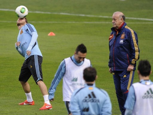 Spain players take part in a training session, March 21, 2013 at the Molinon stadium in Gijon.