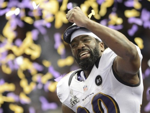 Ed Reed of the Baltimore Ravens celebrates following their Super Bowl victory, February 3, 2013 in New Orleans