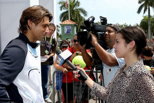 David Ferrer of Spain fields questions from the media on March 18, 2013 in Key Biscayne, Florida