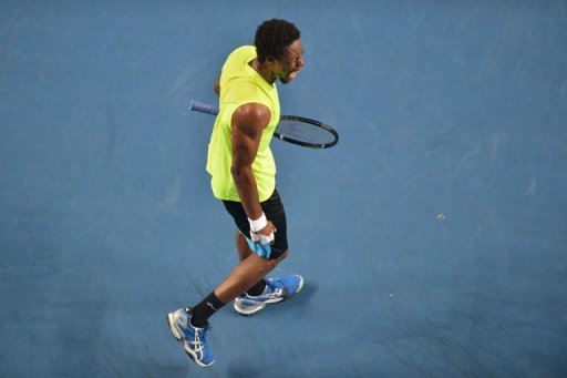 France's Gael Monfils shouts during his men's singles match in Melbourne on January 20, 2013