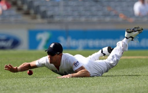 England's Nick Compton fields during day two of their 3rd Test, vs New Zealand, in Auckland, on March 23, 2013