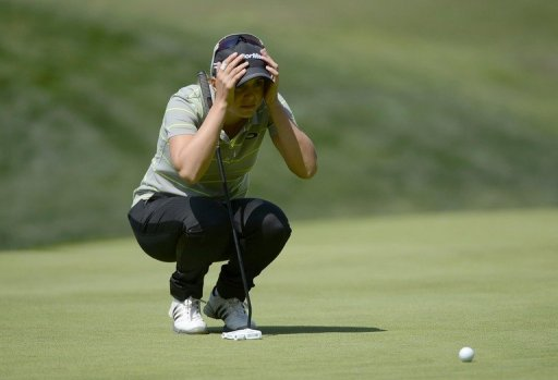 Beatriz Recari of Spain lines up a putt during Round Two of the LPGA 2013 Kia Classic in Carlsbad,  on March 22, 2013