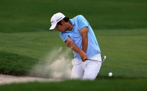 John Huh of the United States plays his second shot on the 1st hole at Bay Hill Golf and Country Club on March 23, 2013