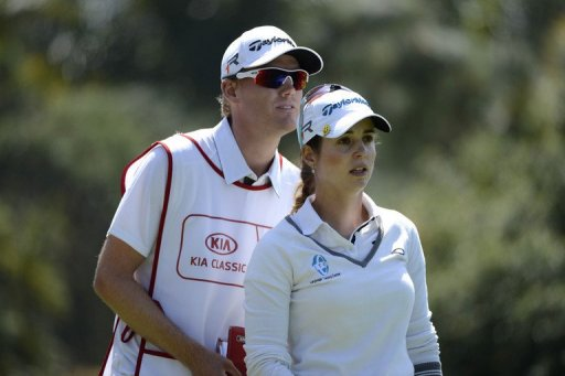 Beatriz Recari of Spain talks with her caddy during Round Three of the LPGA 2013 Kia Classic on March 23, 2013