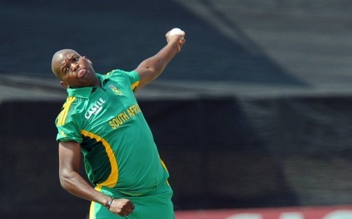 South Africa cricketer Lonwabo Tsotsobe delivers a ball at Willowmoore Park on March 24, 2013