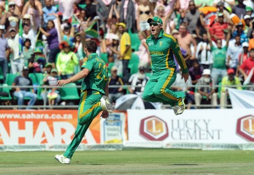 South African Ryan McLaren (left) took three wickets in 13 balls at Willowmoore Park, March 24, 2013