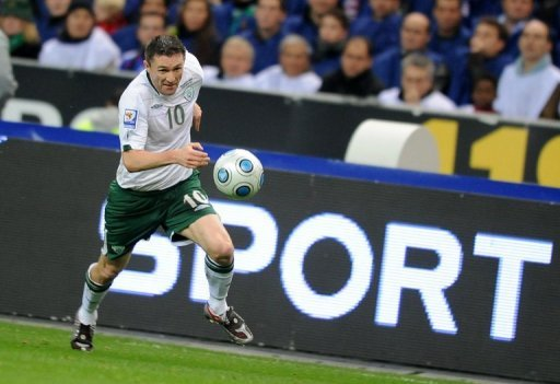 Irish captain Robbie Keane at a World Cup 2010 qualifier at Stade de France in Saint-Denis, Paris on November 18, 2009