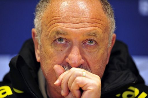 Brazil's manager Luiz Felipe Scolari gives a press conference at Stamford Bridge in London on March 24, 2013